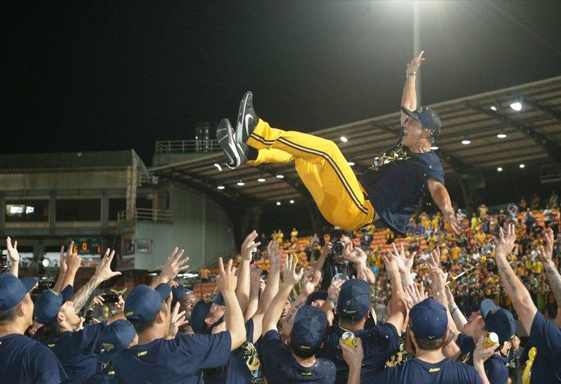 丘昌榮執掌中信兄弟兵符首季就奪得上半季冠軍,賽後被球員拋起慶祝。記者劉學聖/攝影