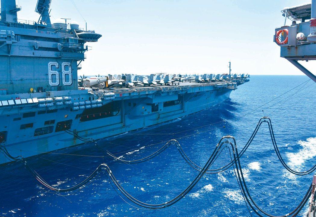美國「尼米茲號」航空母艦七月在南海補給加油。美國十三日宣布反對中國大陸在南海的領...