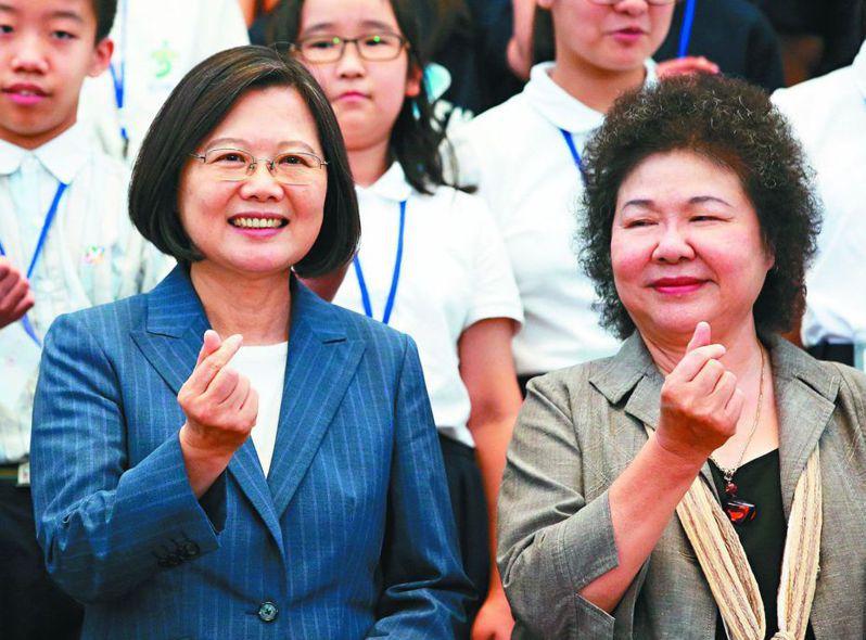 蔡英文總統(左)與監察院長被提名人陳菊。 圖/聯合報系資料照片