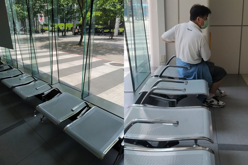 網友在臉書社團發問,為何有些椅子沒有椅背。圖為台北市府轉運站。 圖擷自爆系知識家