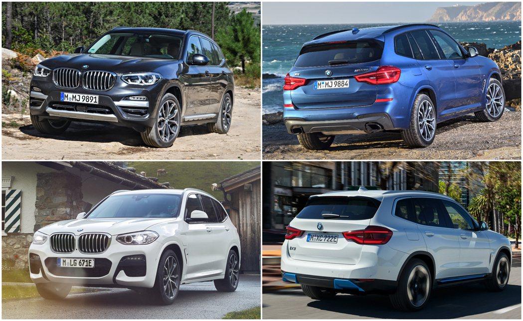在BMW iX3發表後,也讓X3車系成為品牌第一款同時擁有汽油 (圖右上)、柴油...