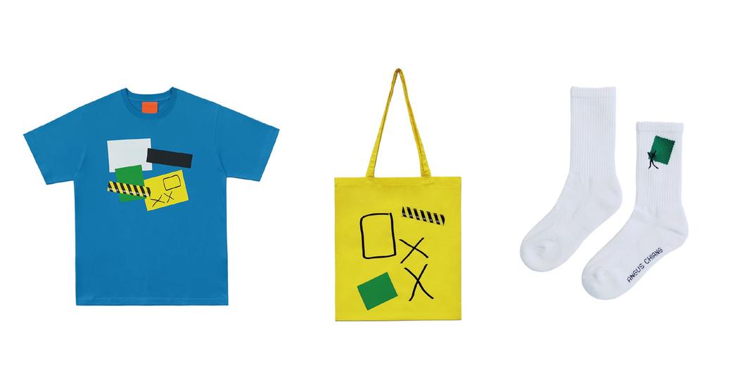 本次同步推出限定系列商品,推出包含短袖T恤、托特提袋與針織長襪,延續展覽內容將抗...