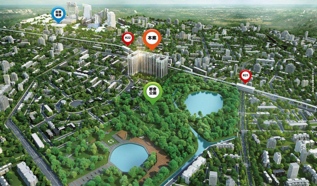 100公頃都會公園第一排,雙捷運站 2-3房。圖片提供/京城建設