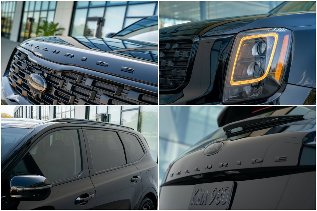 Kia Telluride Nightfall Edition外觀就是滿滿的黑色...