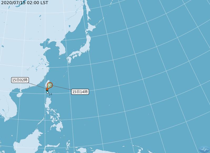 中央氣象局今天發布熱低壓特報,熱帶性低氣壓1002百帕,今天凌晨2時位於北緯21.8度,東經120.8度,即在鵝鑾鼻南南東方20公里海面上,向東北移動,時速17公里。圖/取自氣象局網站