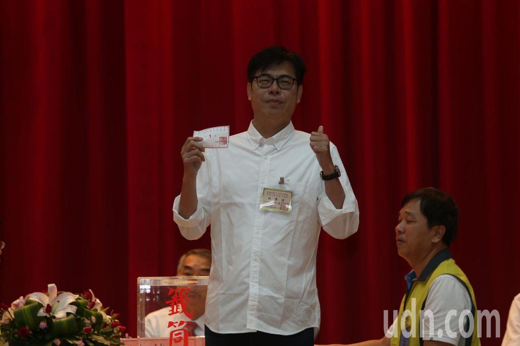 陳其邁陣營喊「一馬當先」、「第一名的市長」。記者劉學聖/攝影