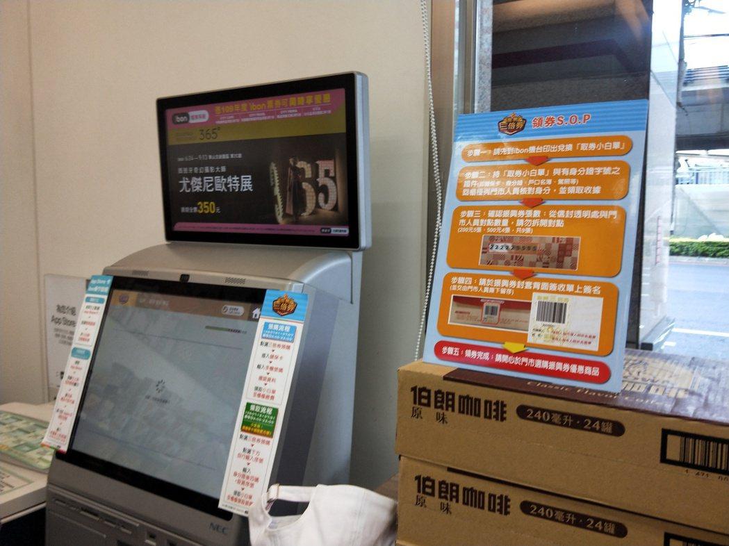 超商機台旁放置領取三倍券的流程。記者江婉儀/攝影