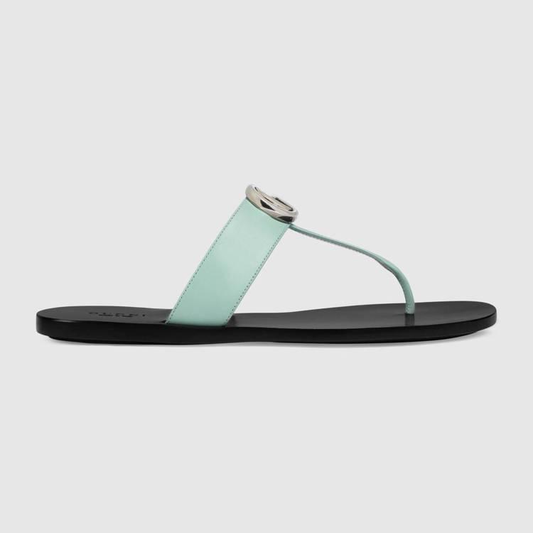 粉綠夾腳拖鞋,18,200元。圖/GUCCI提供