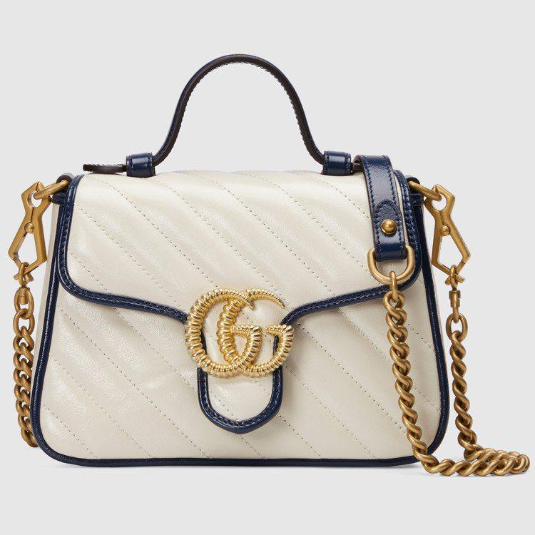 GG Marmont 白色皮革鍊帶包,69,800元。圖/GUCCI提供