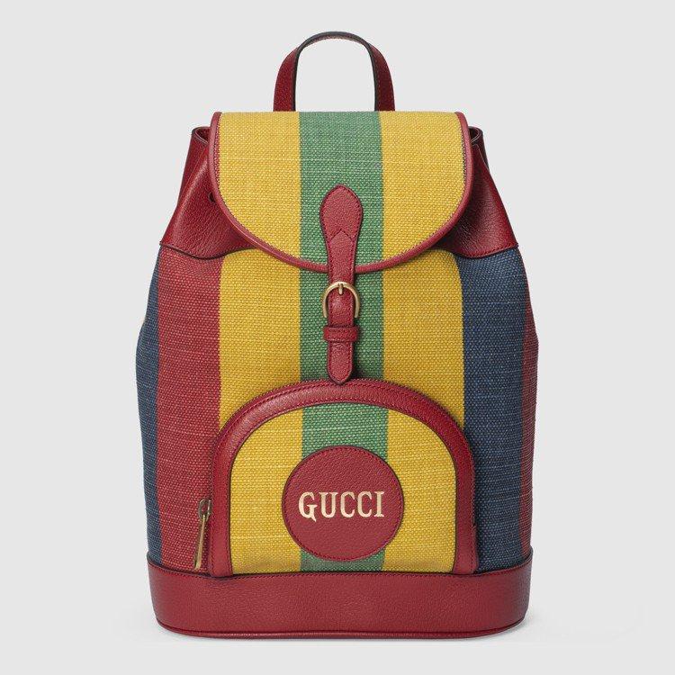 條紋拚色後背包,81,200元。圖/GUCCI提供