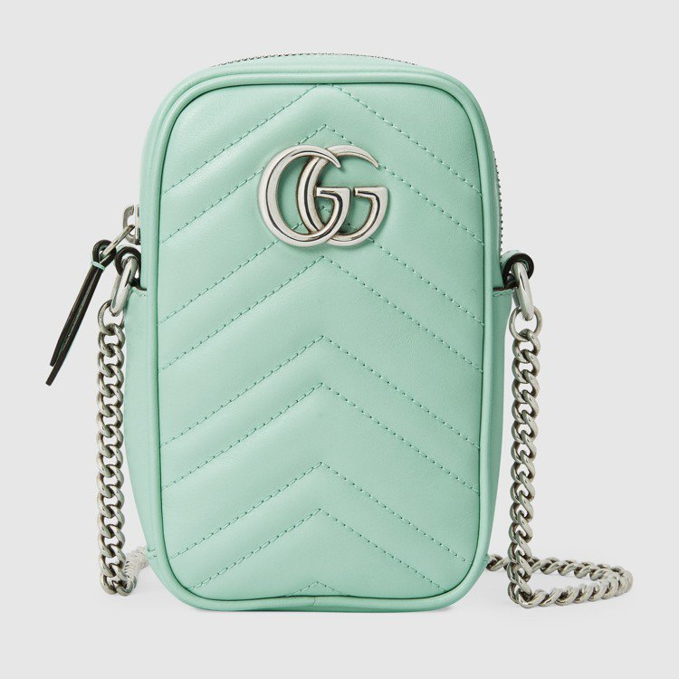 粉綠直式鍊帶包,27,900元。圖/GUCCI提供