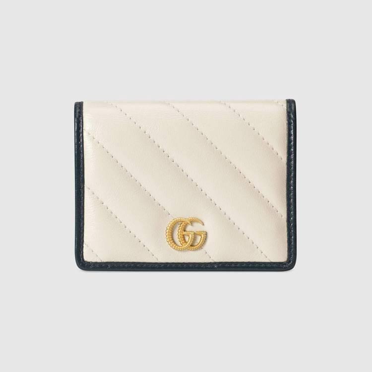 GG Marmont 白色皮革卡夾,17,100元。圖/GUCCI提供