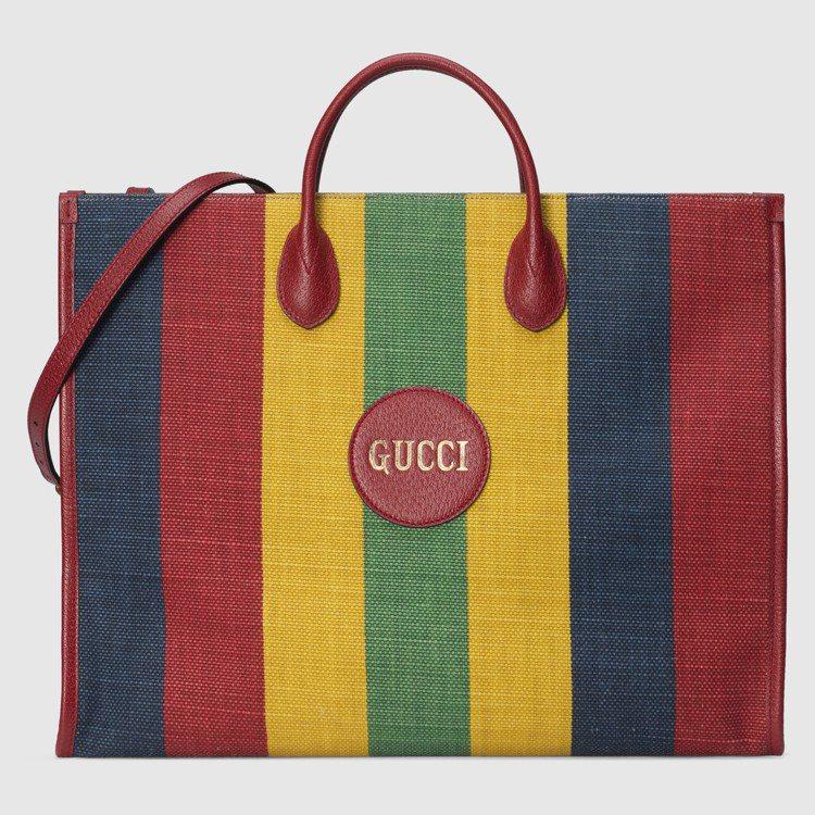 拚色條紋托特包,60,700元。圖/GUCCI提供