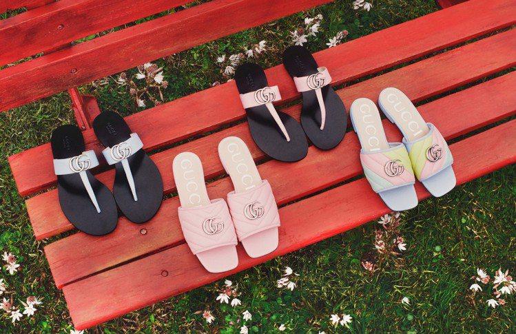 鞋款部分也看得到許多甜美色彩,粉綠、粉紅、粉藍這種甜蜜馬卡龍色。圖/GUCCI提...