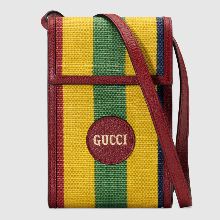 拚色條紋迷你翻蓋包,24,600元。圖/GUCCI提供