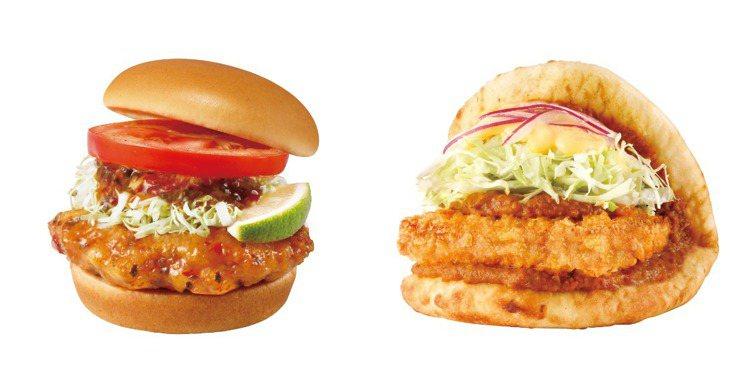 摩斯漢堡新推出「泰式椒麻雞腿堡」、「印度咖哩豬排烤餅」等異國風新品。圖/摩斯漢堡...