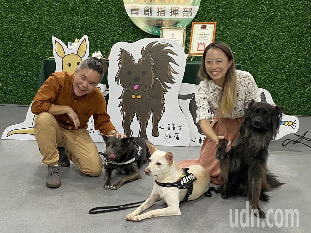 台灣心輔犬團隊目前有墨墨(左)、奶茶(中)、戚風(右)等三隻心輔犬。記者高宇震/...