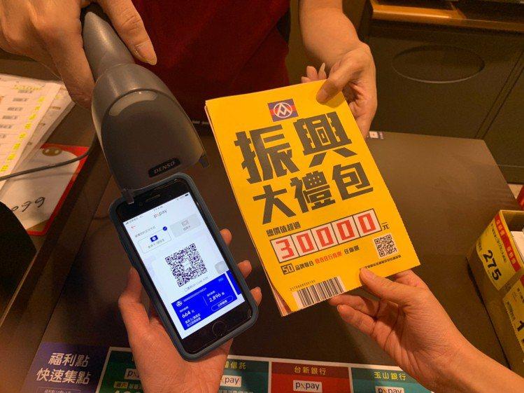 PX Pay會員持實體振興券滿千送千點,再限量加贈價值超過3萬元振興大禮包。圖/...