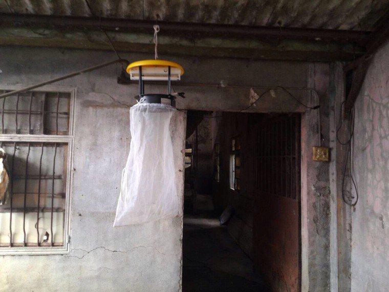 台中市衛生局預防日本腦炎,架設捕蚊設備防治。圖/台中市衛生局提供
