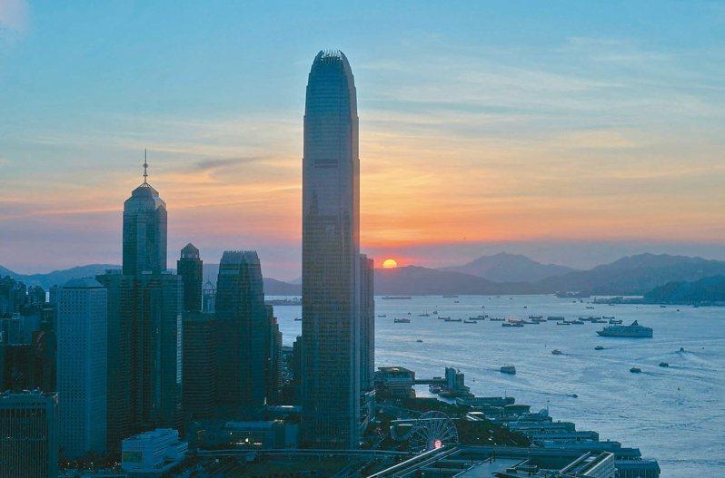 美國總統川普簽署「香港自治法」,取消對港優惠待遇,香港又邁入一個不確定的震盪期。圖為落日餘暉下的香港商業區。(美聯社)
