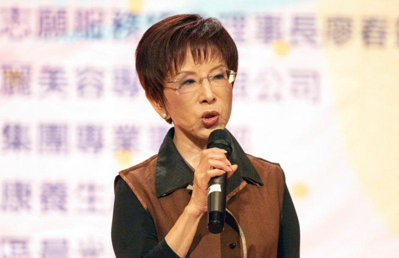 國民黨前主席洪秀柱深夜發文聲援吳怡玎。圖/聯合報系資料照片