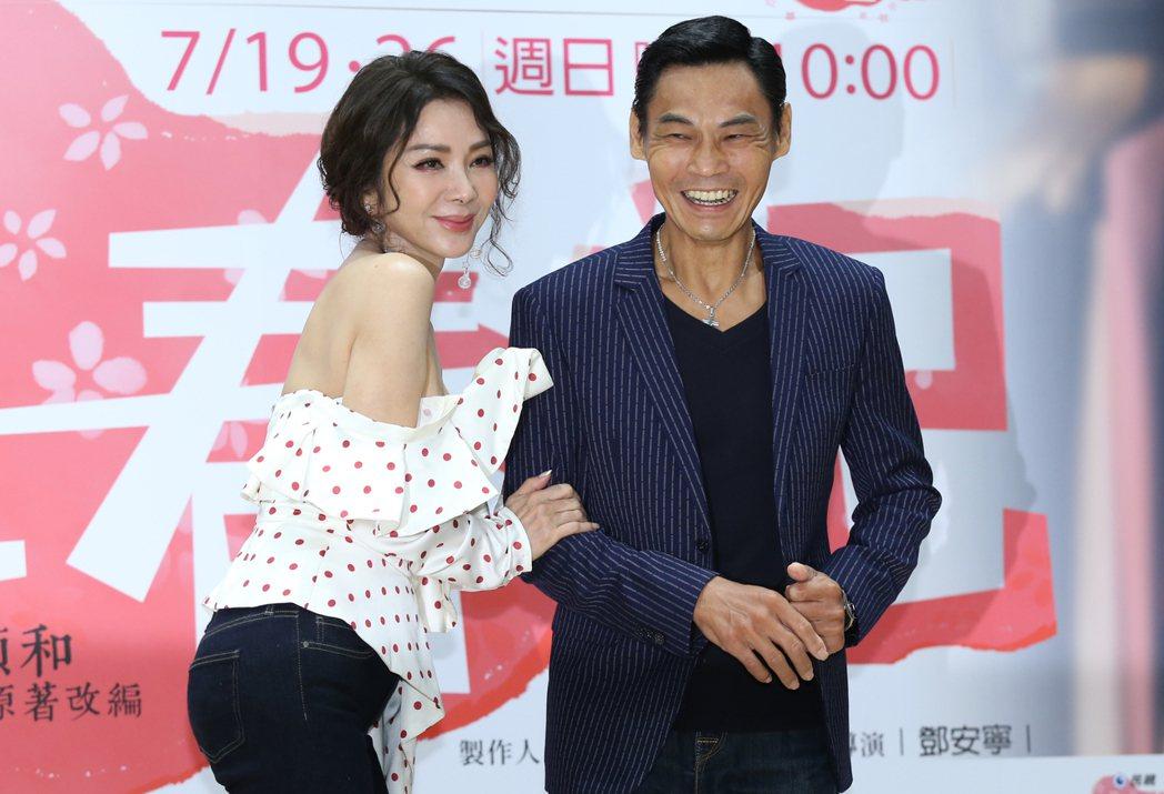《三春記》舉行首映會,演員陳美鳳(左)、夏靖庭(右)出席。記者曾學仁/攝影