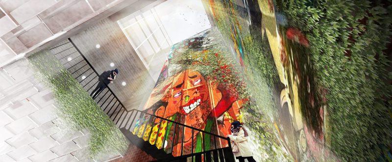 漢中街45號的老舊空屋,北市府將斥資7000餘萬元,改建為遊客服務中心,未來中庭樓梯空間採挑空設計,並結合公共藝術。圖/北市新工處提供