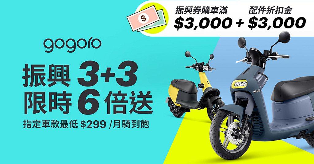 Gogoro特別推出振興「3+3限時6倍送」,即日起至2020年8月31日止使用...