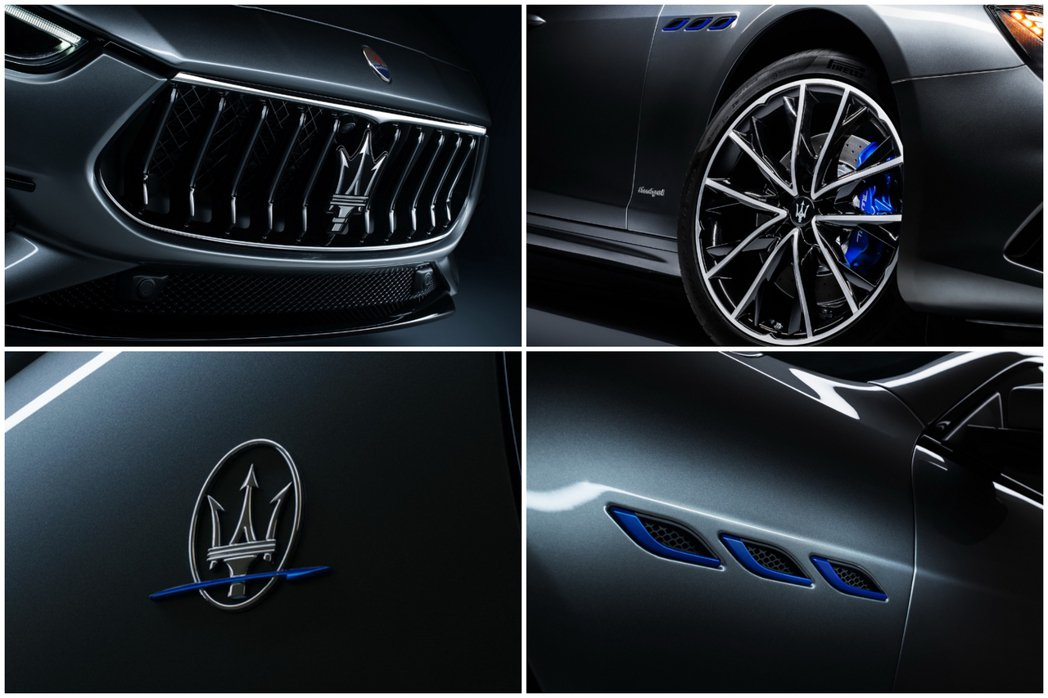 Maserati Ghibli Hybrid增添許多藍色元素相爭其為綠能車身分。...