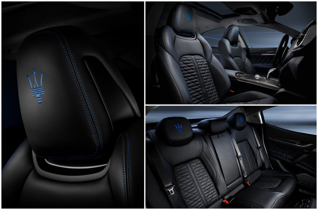 Maserati Ghibli Hybrid內裝也是充滿著象徵節能環保的藍色。 ...