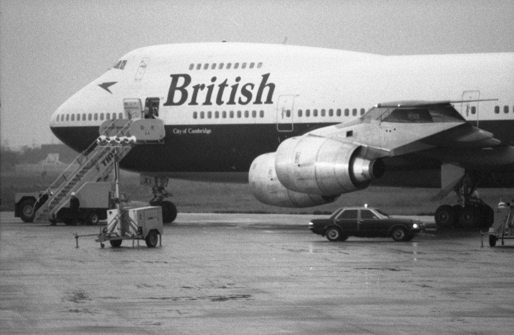 英國航空公司波音747客機,曾經迫降台灣中正國際機場(今桃園國際機場)的資料照片...
