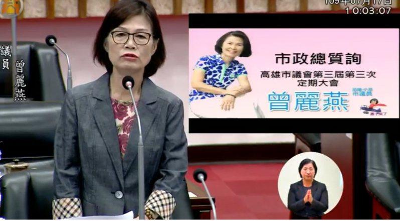 國民黨高市議員曾麗燕今日質詢,希望市府支持滑板車運動。記者徐白櫻/翻攝