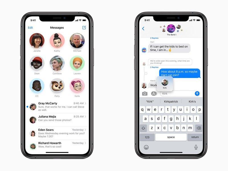 蘋果在即將於秋季推出的iOS 14中,針對對話功能推出多種實用功能更新。圖/蘋果提供