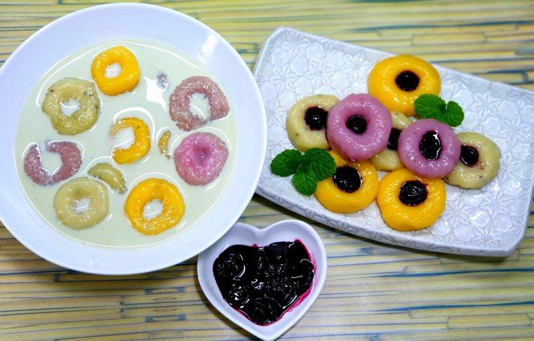 紅黃綠丸子抹茶歐蕾佐藍莓醬 圖/林芝蕙