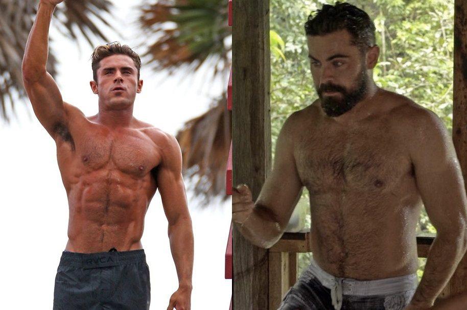 柴克艾福隆在「海灘救護隊」(左)中的健壯體格,現(右)已有明顯改變。圖/摘自im