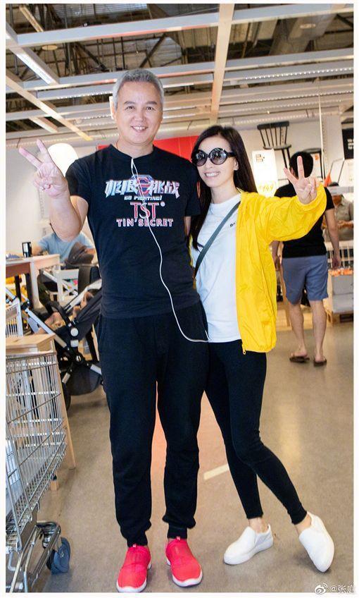 林瑞陽(左)日前身體出現狀況變胖,後來瘦身成功和張庭一起亮相。圖 /摘自微博