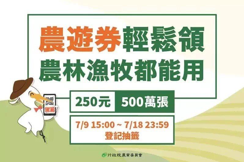 農委會推出農遊券,第二波有335萬份,登記到18日晚上11時59分,19日中午將抽籤。 圖/取自農委會官方網站