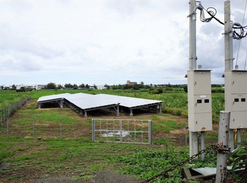 光電板面積660平方公尺、發電量100千瓦的小型光電場林立,屏東縣已成長至400多場,因手續簡便、施工量體小,且免徵田賦、收入穩定,成為新興副業。記者潘欣中/攝影