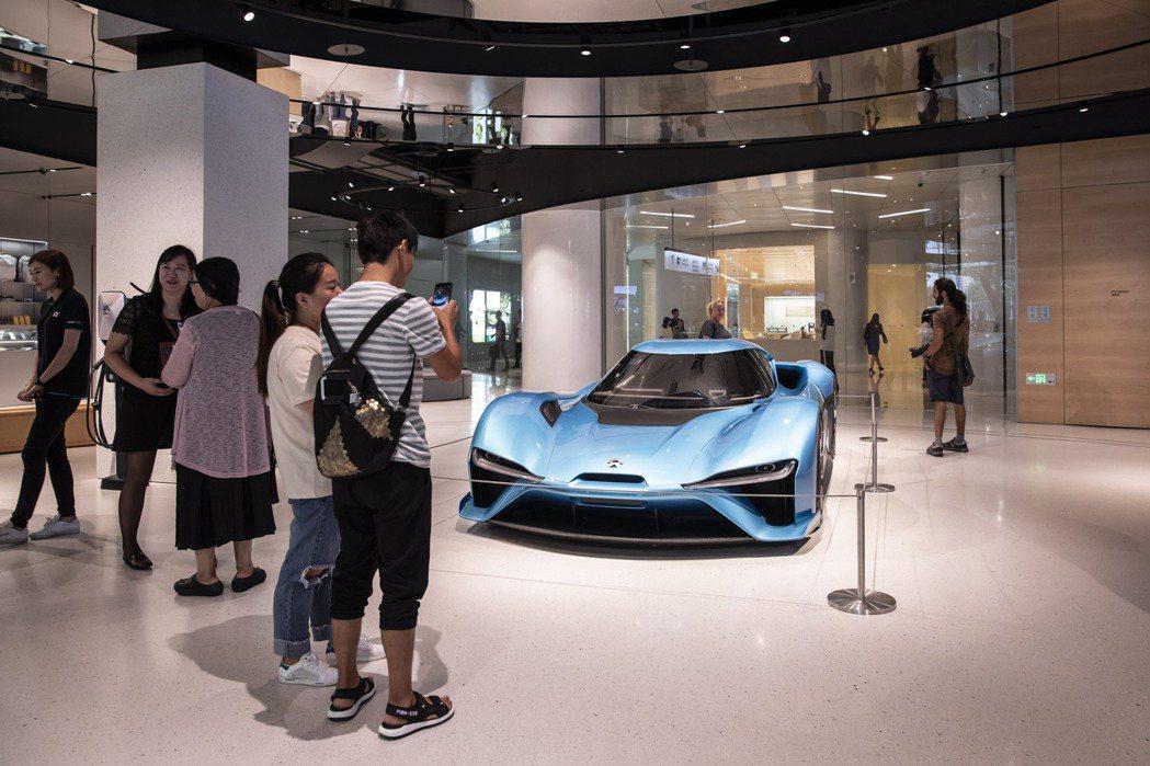 蔚來汽車生產的EP9電動車。  彭博資訊