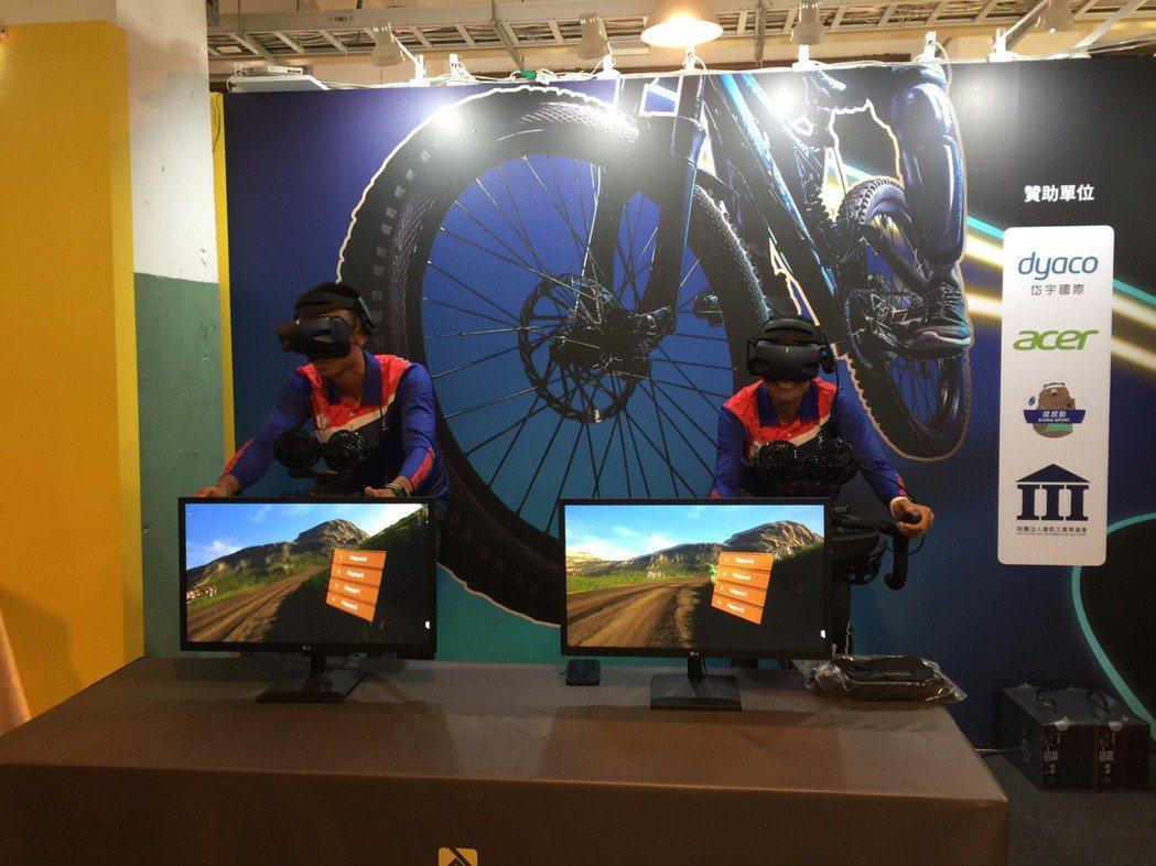 兩位奧運選手體驗VR飛輪。 DEIPO /提供