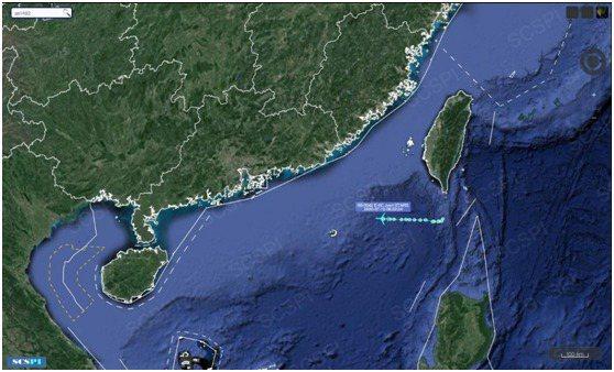 圖為大陸「南海戰略態勢感知計劃」平台15日發布美軍E-8C飛機飛行路線。 圖/取自《環球網》