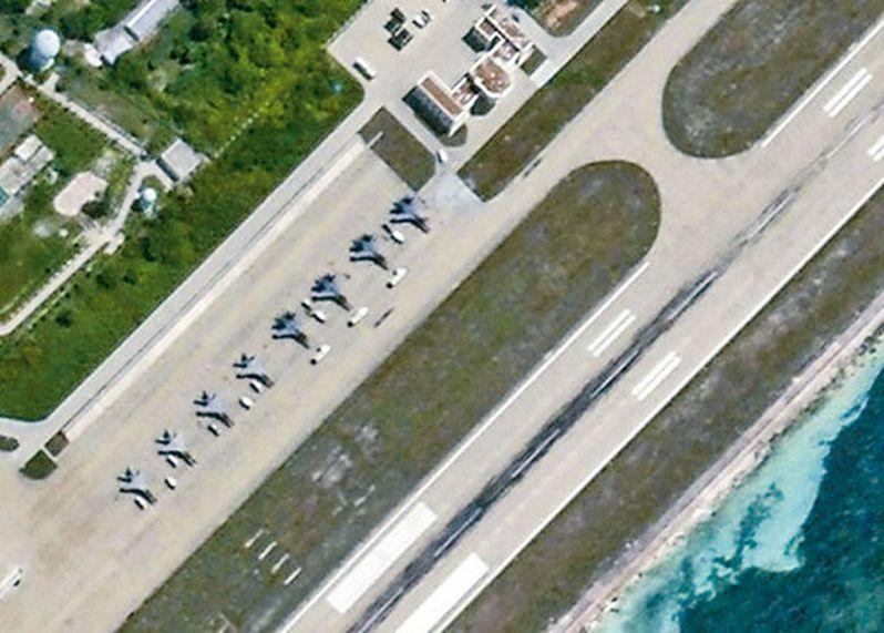永興島上的戰機。 圖/衞星圖片截圖