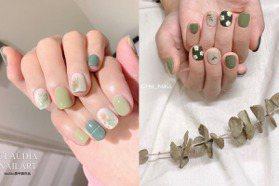 夏天就要一抹綠!濃淡抹茶綠色系的美甲指彩範本25款推薦 小清新花朵、幾何線條、渲染水彩通通有