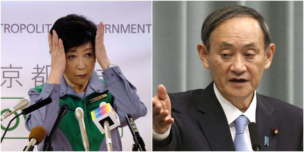 東京都知事小池百合子(左),認為政府應該要有更加有效的作為,才能夠控制疫情,但官...