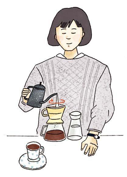 沖泡手法:以畫同心圓方式沖泡咖啡。 圖/摘自《陶鍋炒豆學:機器烘豆無法取代的咖啡...