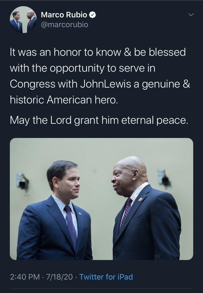 美國眾議員魯比歐誤用美眾議員康明斯照片悼念美眾議員路易斯,甚至短暫把同圖換成兩人...