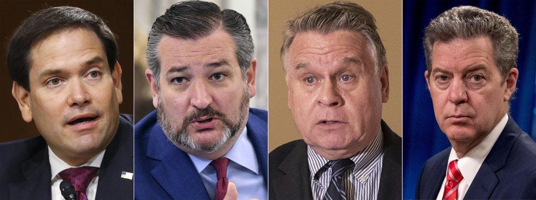 美國議員及官員遭中共制裁,左至右為Marco Rubio, Ted Cruz, Chris Smith, Sam Brownback。 圖/美聯社