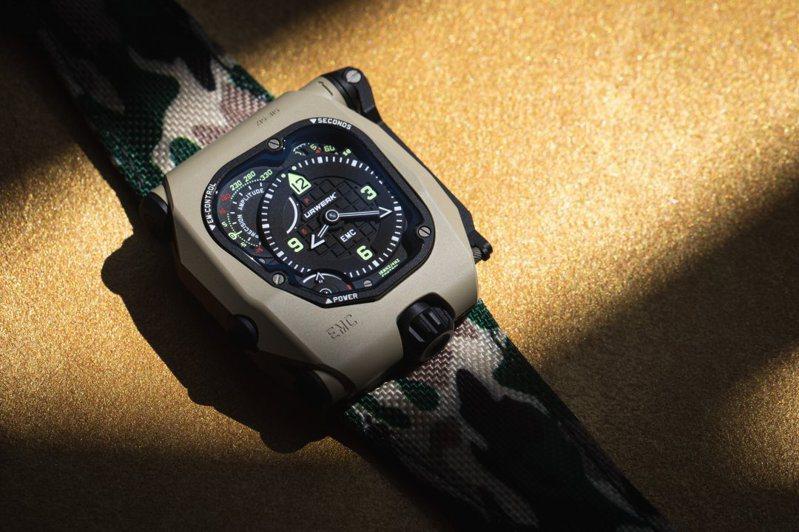 同時結合機械與電子系統的URWERK EMC TimeHunter Desert Sage,在精密之外,呈現鮮明的野外軍事風格,428萬元。圖 / URWERK提供。