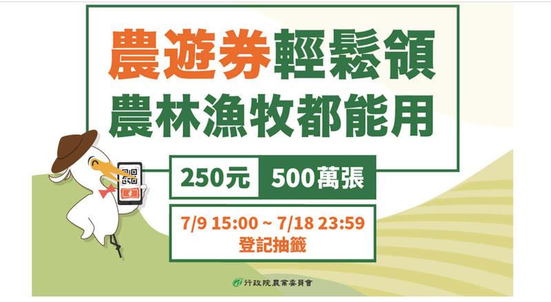 農委會所發出的5百萬份市值250元的農遊券已全數抽出,並於昨天中午前發送票券資訊給申請民眾。記者陳弘逸/翻攝至農業易遊網