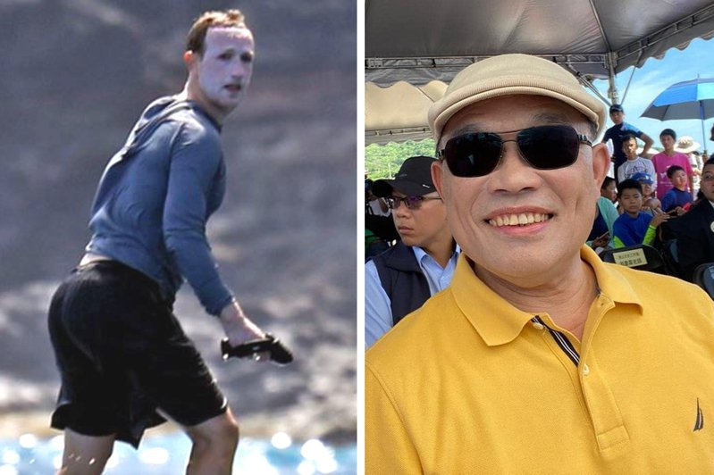 臉書執行長祖克柏(左)因為防曬乳塗太厚,導致臉上一片慘白。無獨有偶,台灣行政院長蘇貞昌(右)也曾因為「白臉」引發討論。圖翻攝自Twitter、林佳龍臉書
